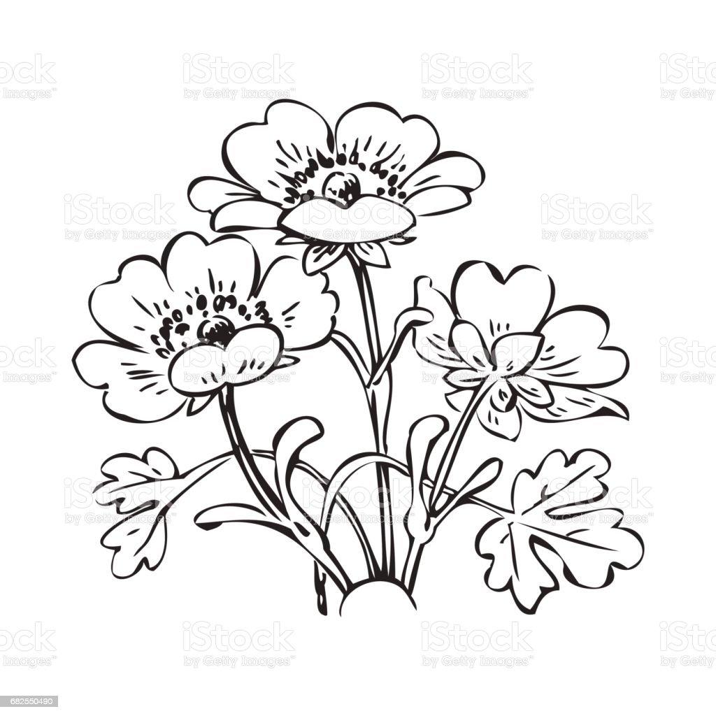Floral bush retro black on white background vector hand drawn floral bush retro black on white background vector hand drawn decorative flower vintage contour mightylinksfo
