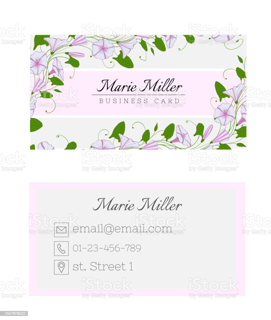Floral business card template elegant feminine design with flowers floral business card template elegant feminine design with flowers binweed and convolvulus royalty wajeb Images