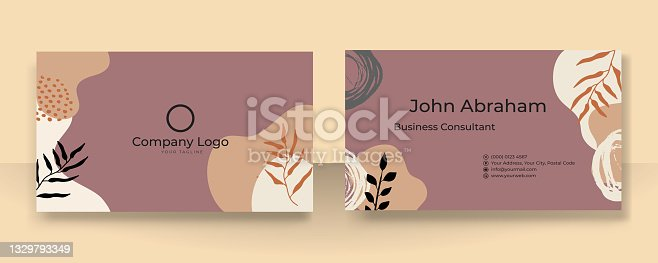 Floral business card template with modern corporate concept. Creative elegant name card and business card design