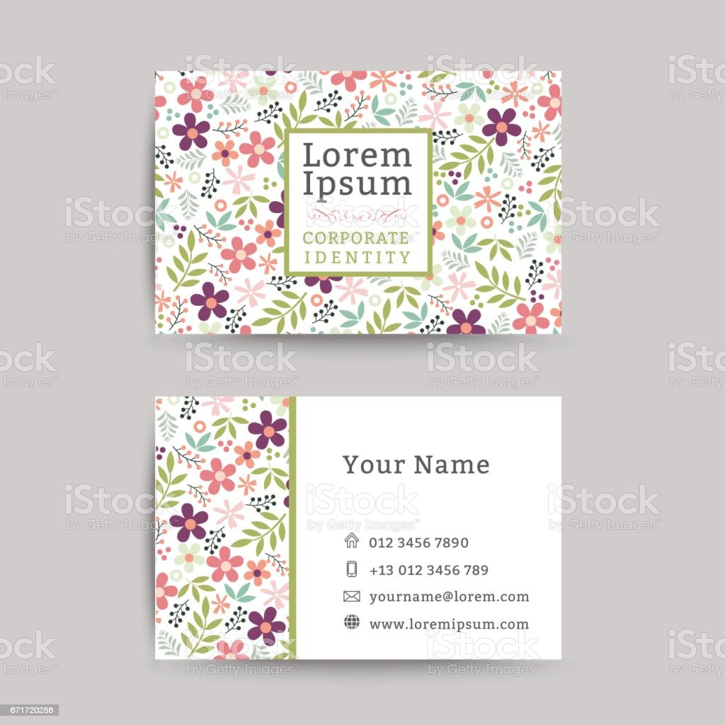 Floral Business Name Card Design Template Stock Vector Art & More ...