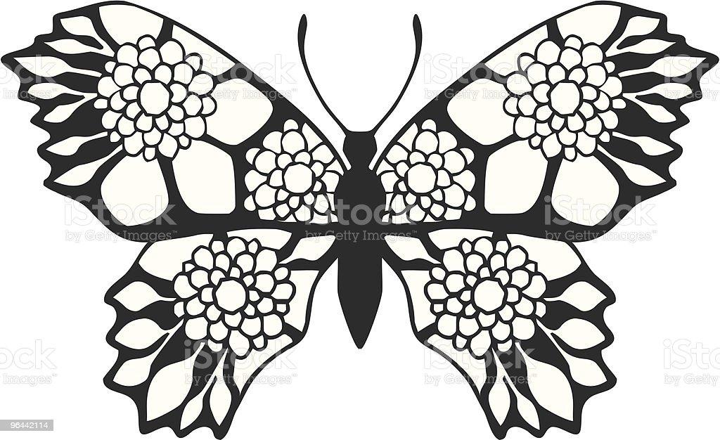 Borboleta-Floral - Vetor de Asa animal royalty-free