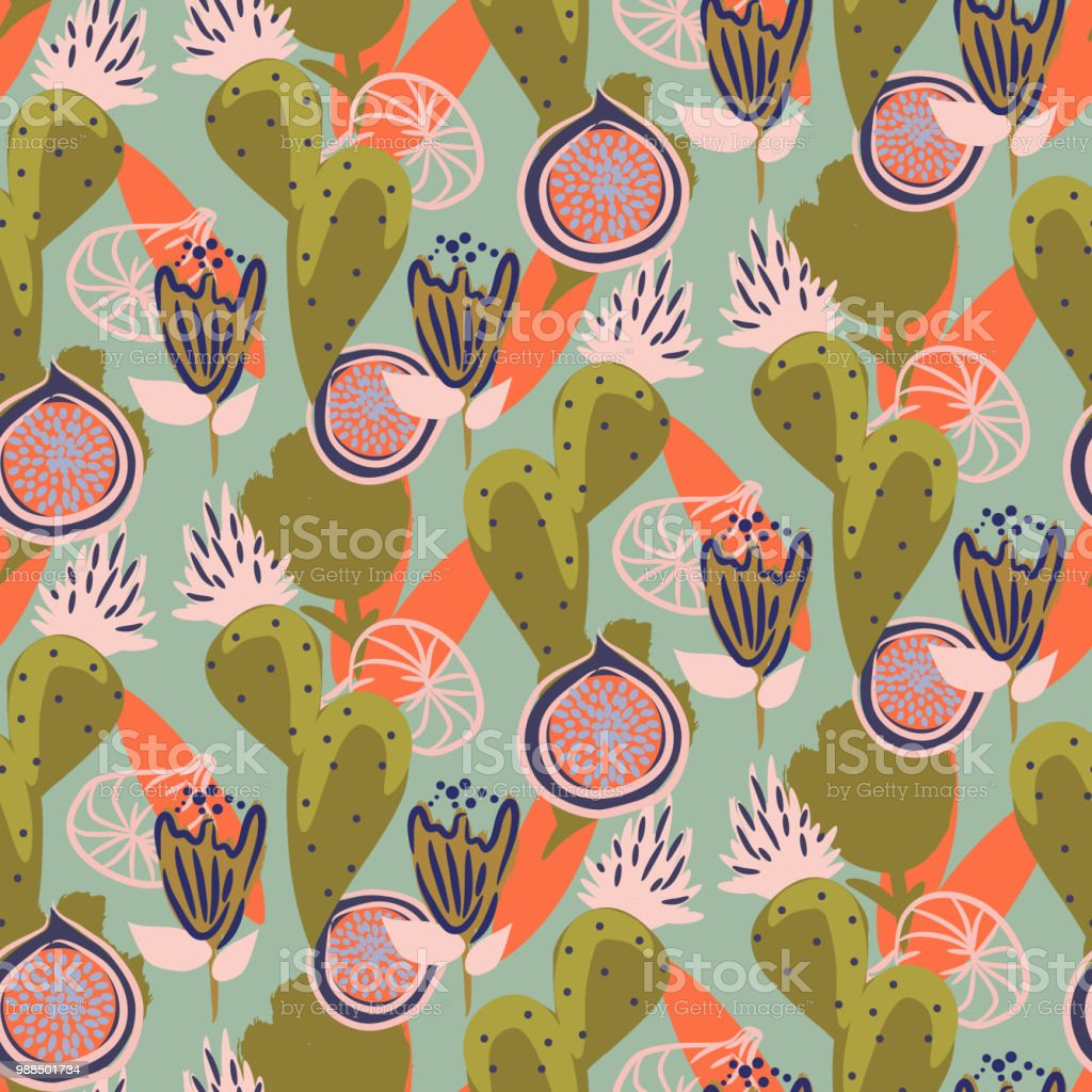 Floral cacti and figs garden seamless vector pattern vector art illustration
