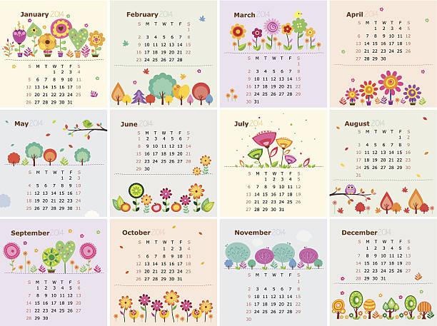 Floral calendario de enero de 2014 (hasta diciembre) - ilustración de arte vectorial