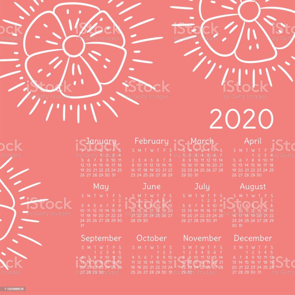 Poster Calendario 2020.Floral Calendar 2020 Flowers Week Starts On Sunday English