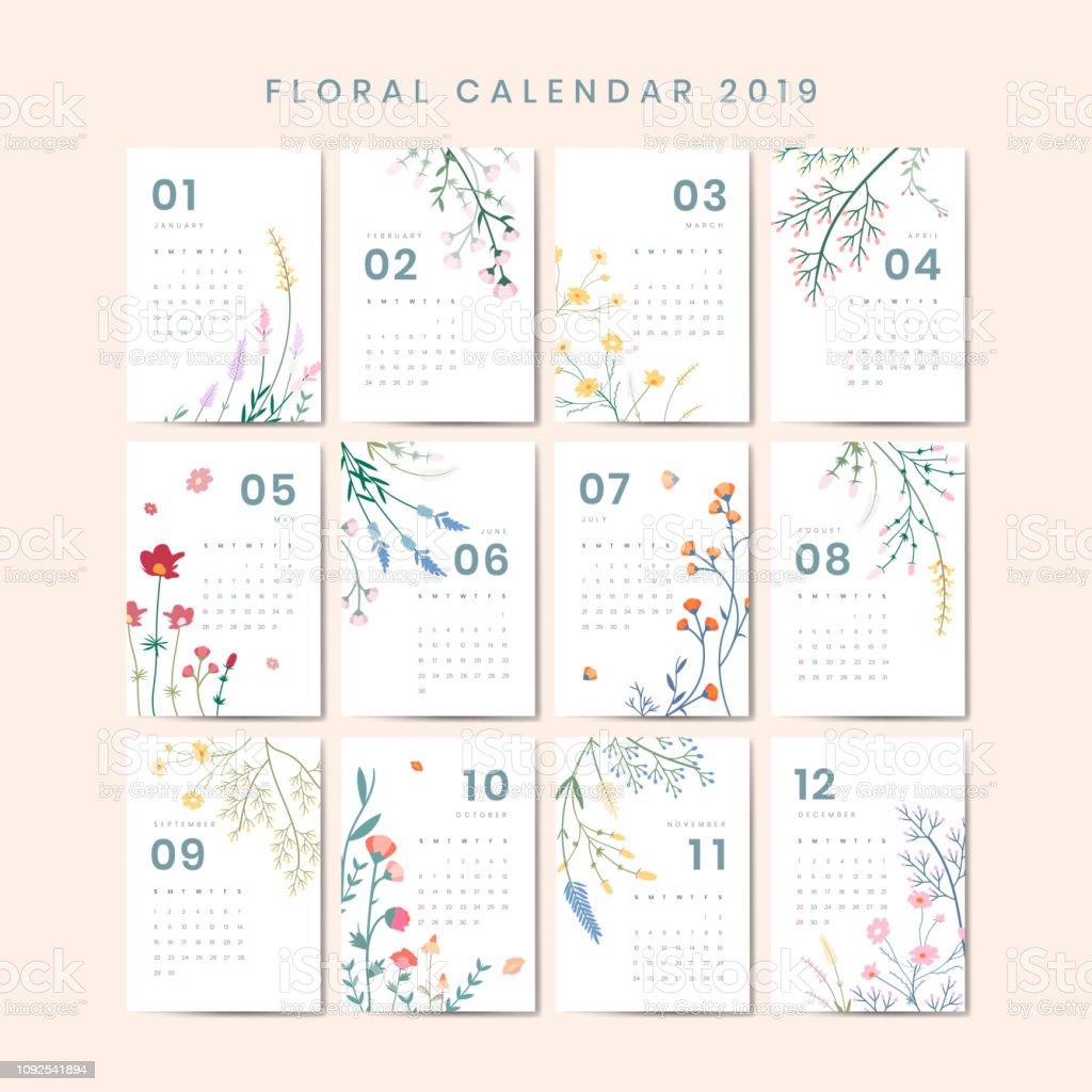 Maqueta del calendario floral - ilustración de arte vectorial