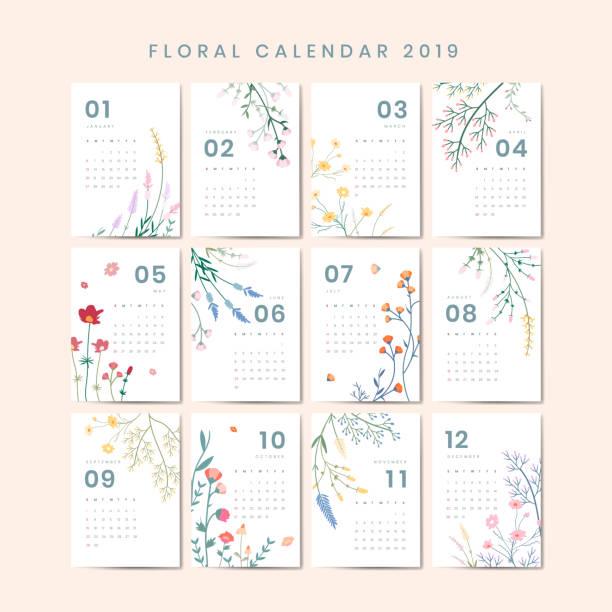 ilustraciones, imágenes clip art, dibujos animados e iconos de stock de maqueta del calendario floral - calendario de flores