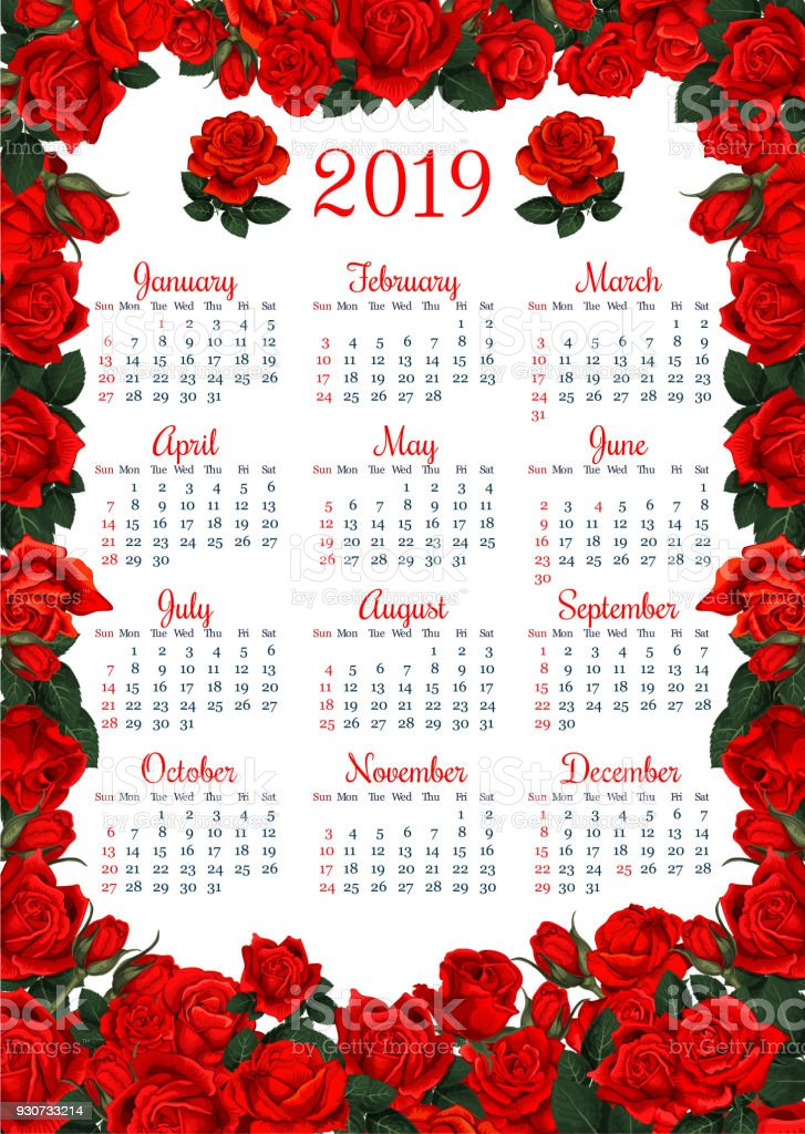 Floral Calendar Template In Red Rose Flower Frame Stock Vector Art ...