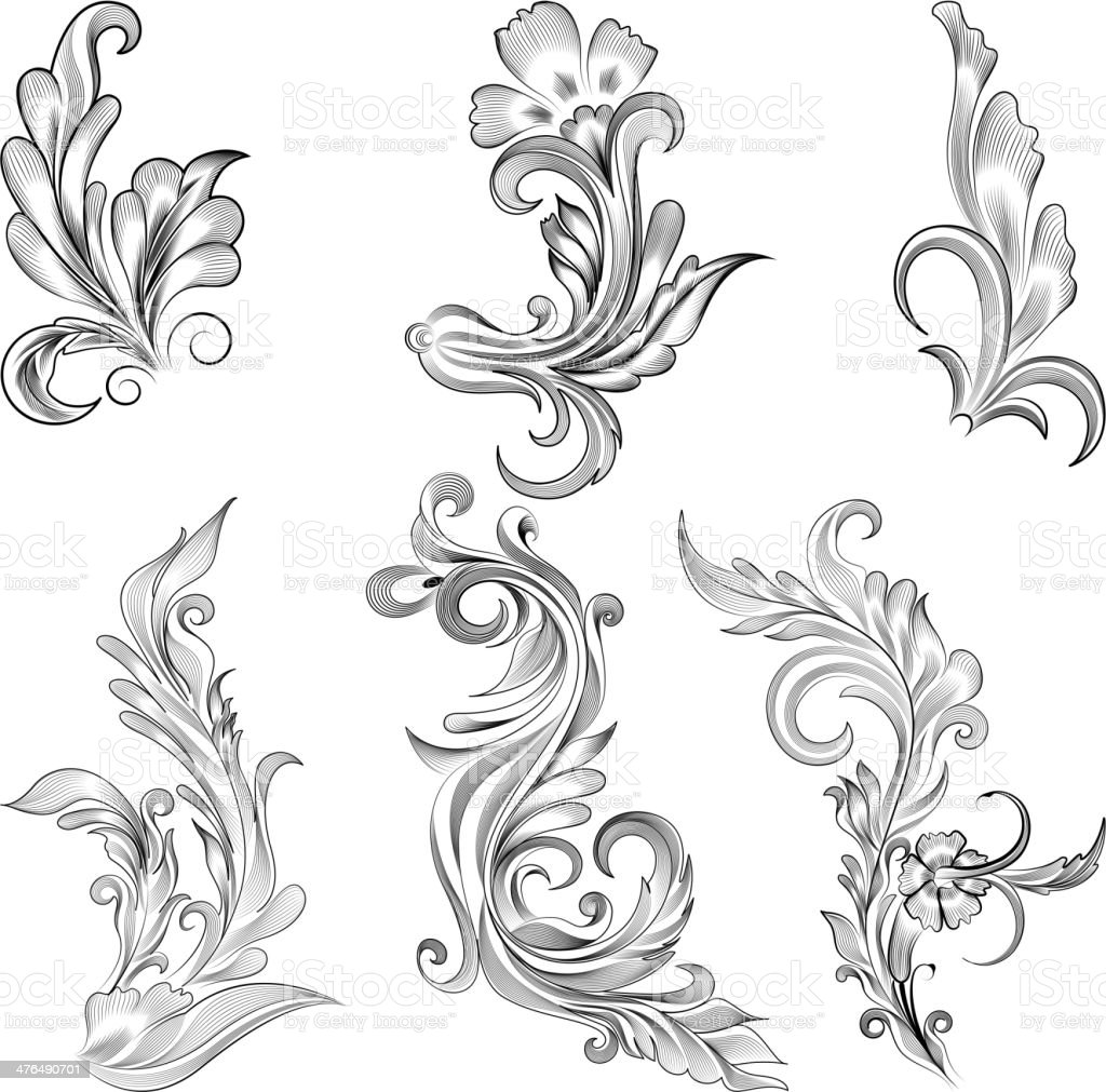 Floral Calligraphic Design royalty-free stock vector art