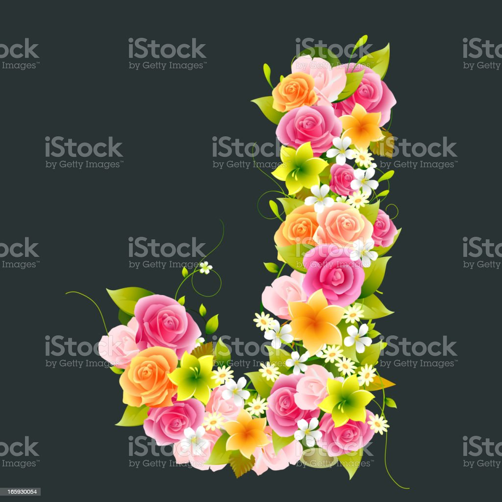 Floral Capital letter J on Bamboo royalty-free stock vector art