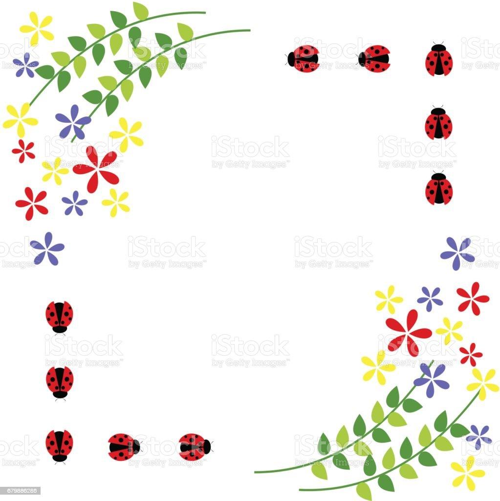Ilustración de Tarjeta Floral Coloridas Flores Hojas Y Mariquitas ...