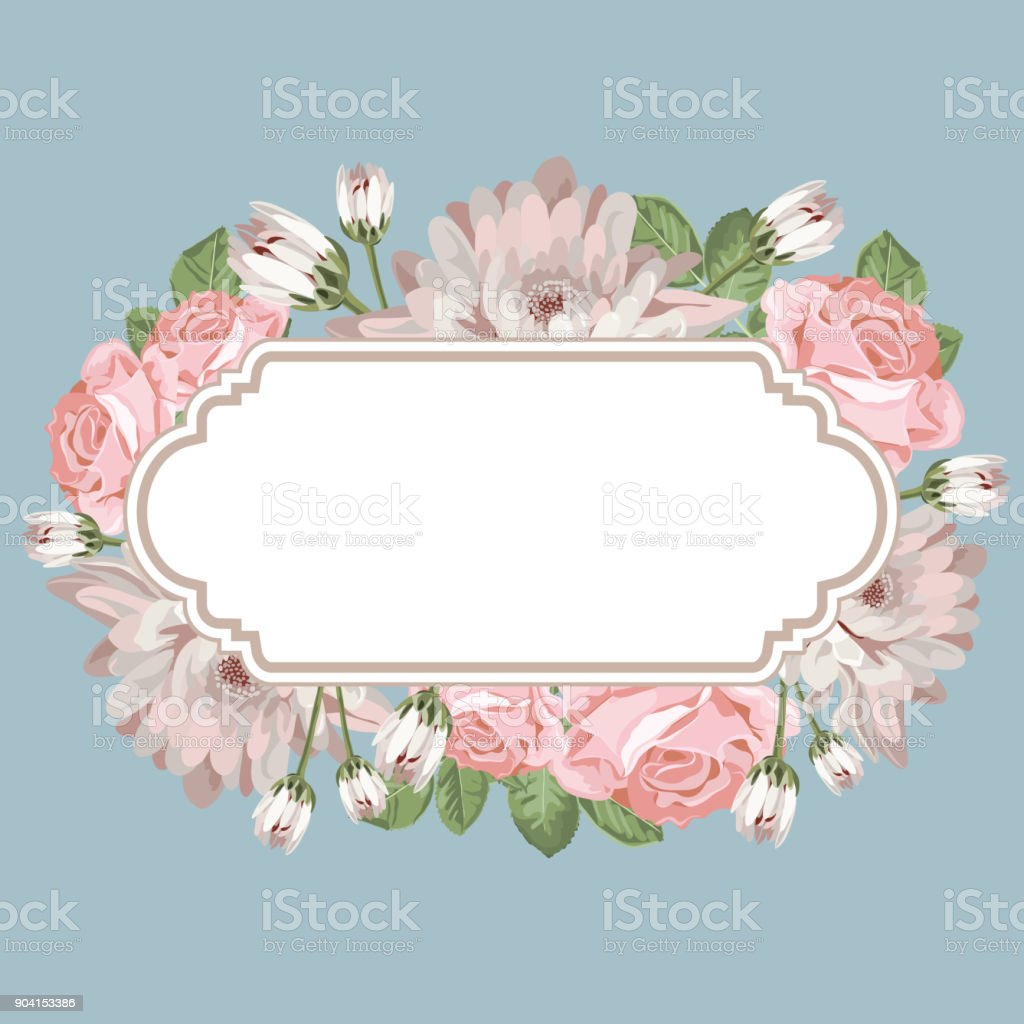 Floral Card Template With Empty Frame Stock Vector Art & More Images ...