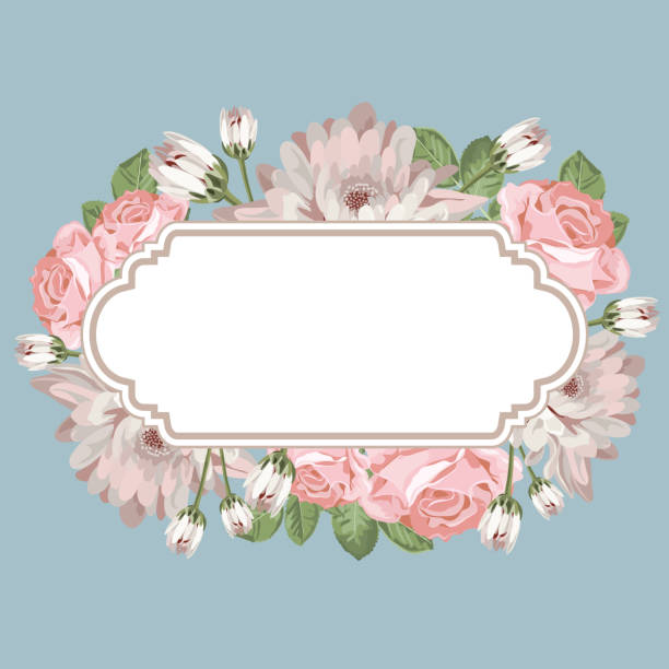 Floral card template with empty frame Floral card template with blank or empty frame. Chrysanthemums, and roses on vintage blue color for your romantic design. Vector illustration. shabby chic stock illustrations