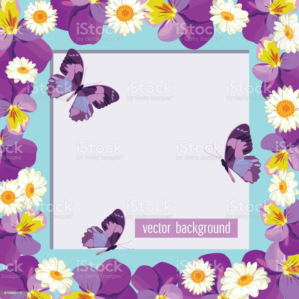 Plantilla Tarjeta Floral Con Marco Vacío - Arte vectorial de stock y ...