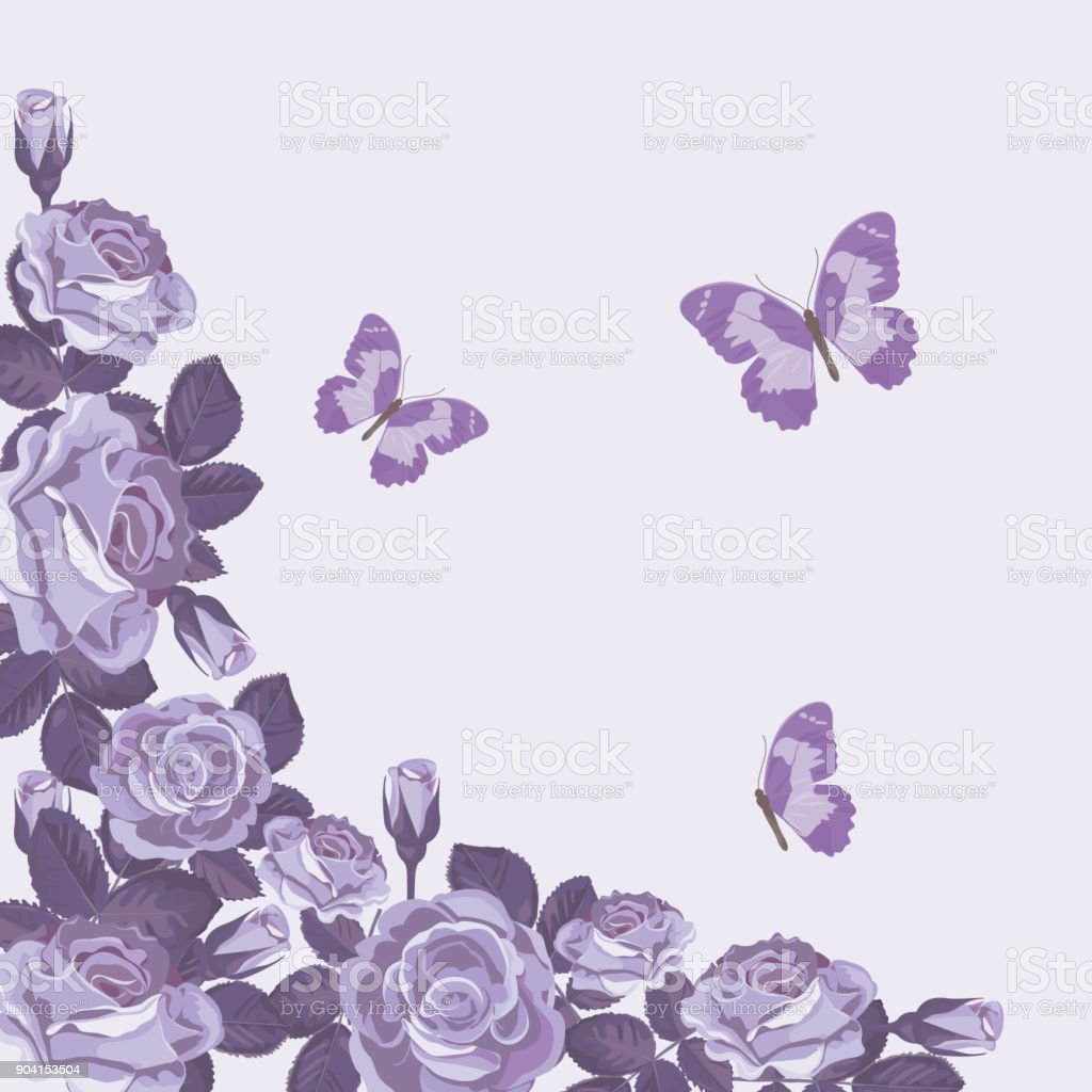Floral Card Template With Violet Roses And Butterflies Beautiful