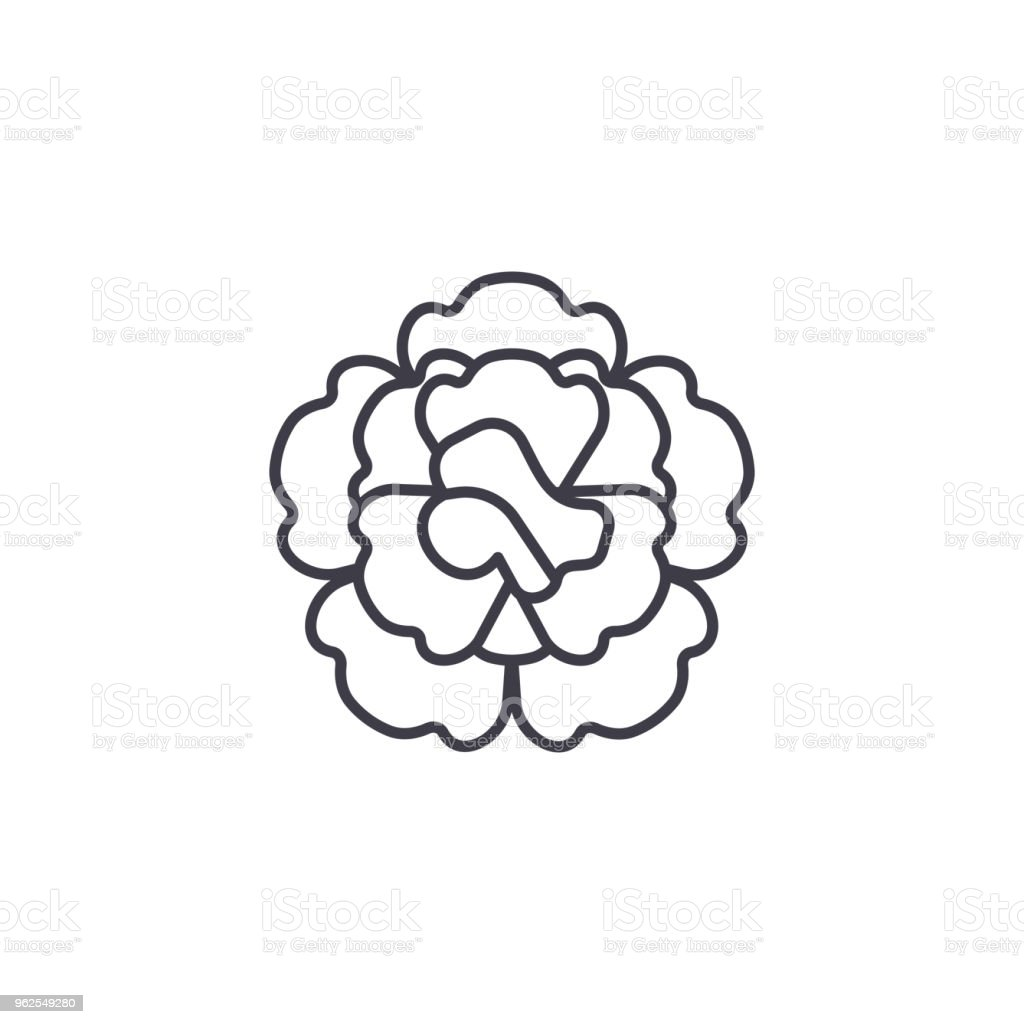 Floral carnation line icon concept. Floral carnation flat vector sign, symbol, illustration. - Royalty-free Art stock vector