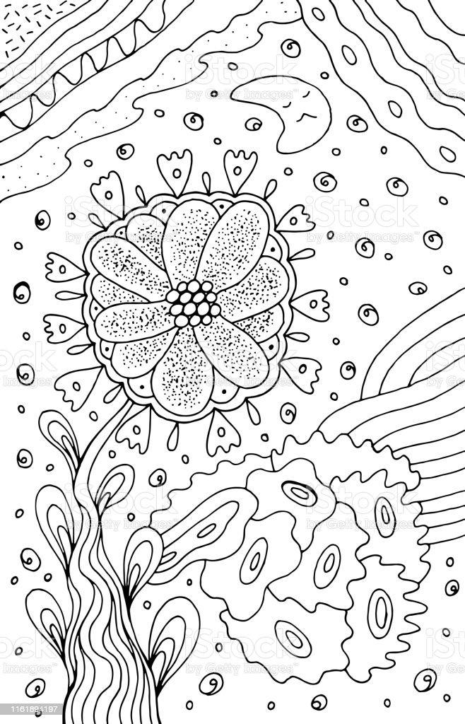 Sevimli Ay Ile Floral Karikatur Soyut Doodle Murekkep Cizgisi