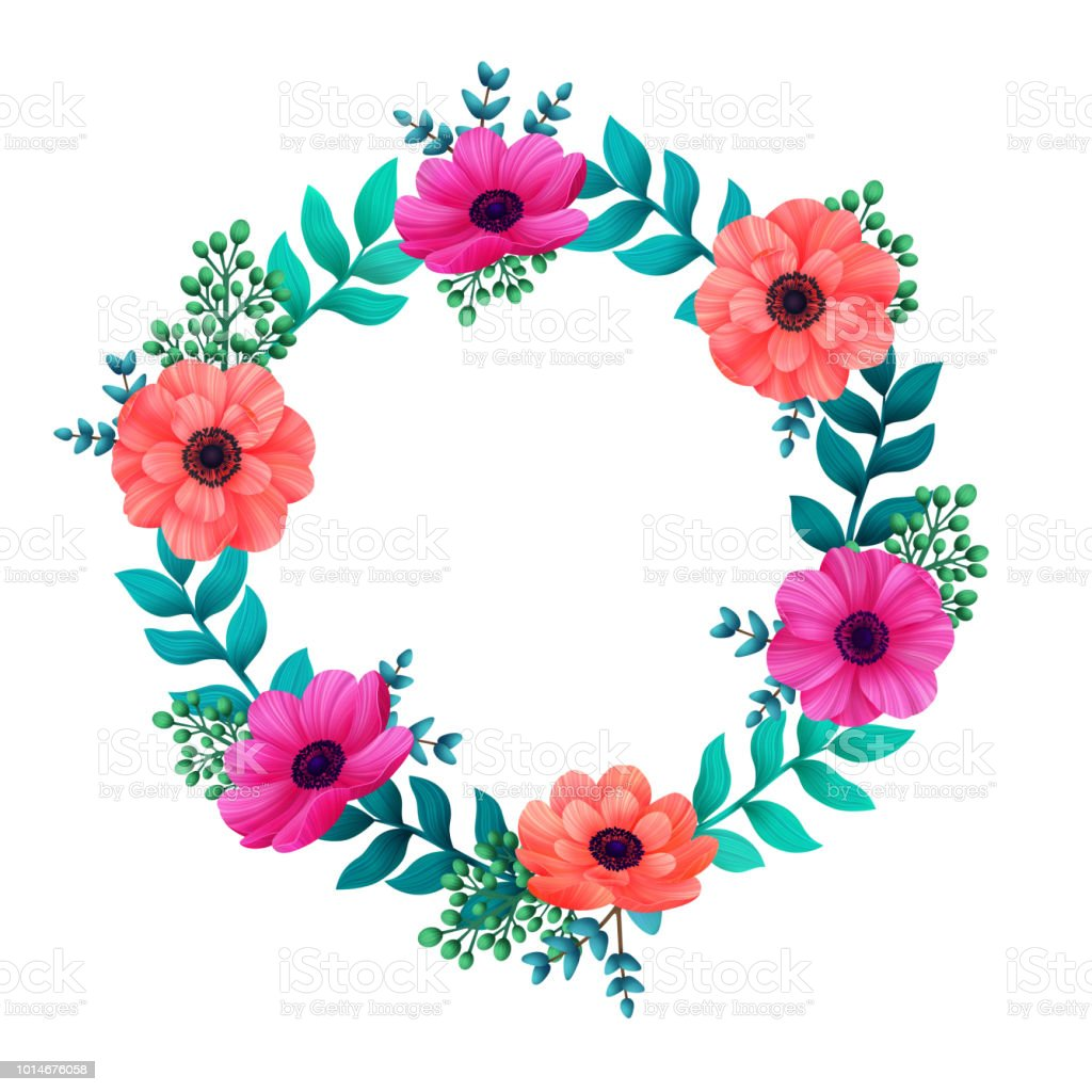 Floral Circle Frame Tropical Flowers Trendy Template Summer Design