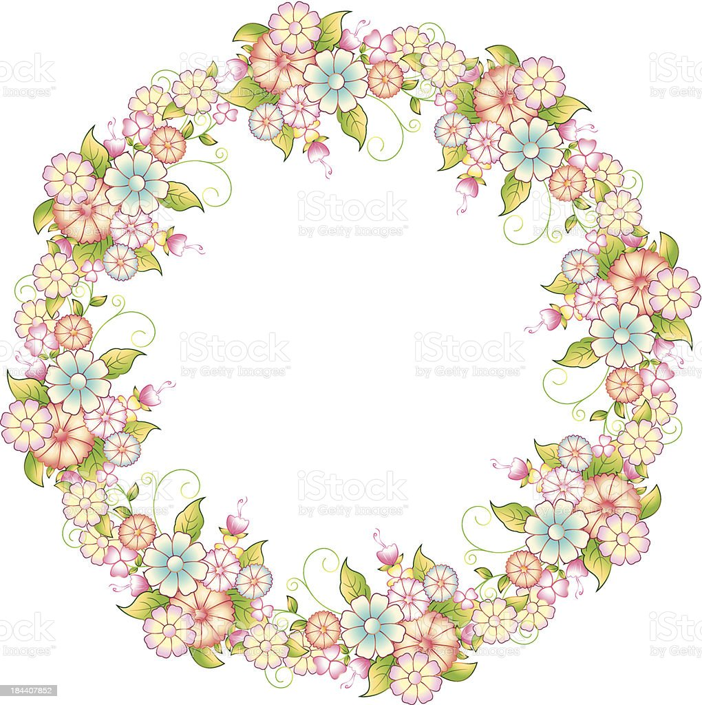 Floral Circle Frame royalty-free stock vector art