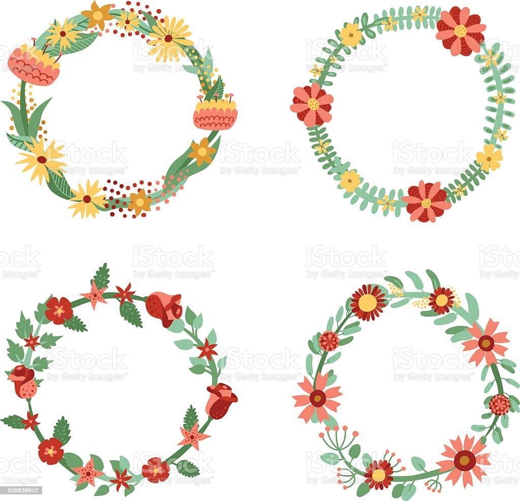 Ilustración de Flores Círculo Marcos Vector De Conjunto Dibujos ...