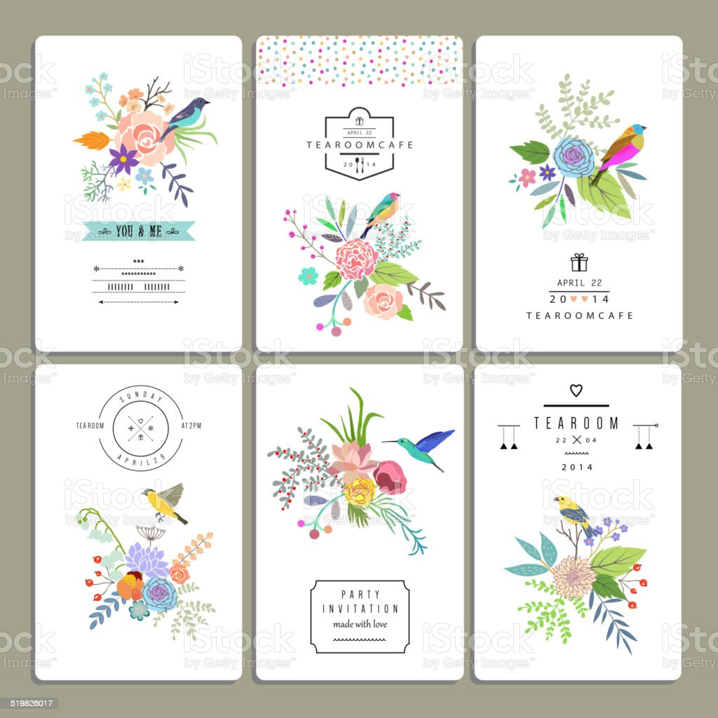 Floral collection of romantic invitations. vector art illustration