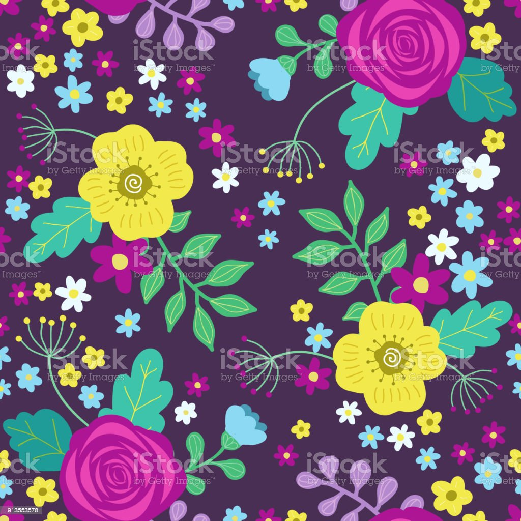 Floral Colorful Seamless Pattern With Purple And Yellow Roses And