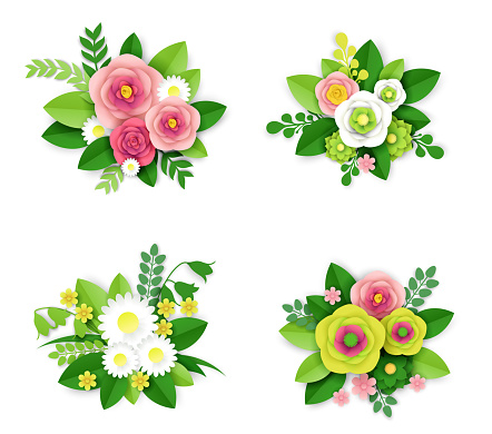 Floral composition set, vector isolated illustration in paper art style. Spring and summer flower bouquets.