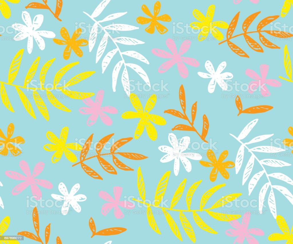 Floral Contemporary Summer Color Seamless Vector Pattern For Surface ...