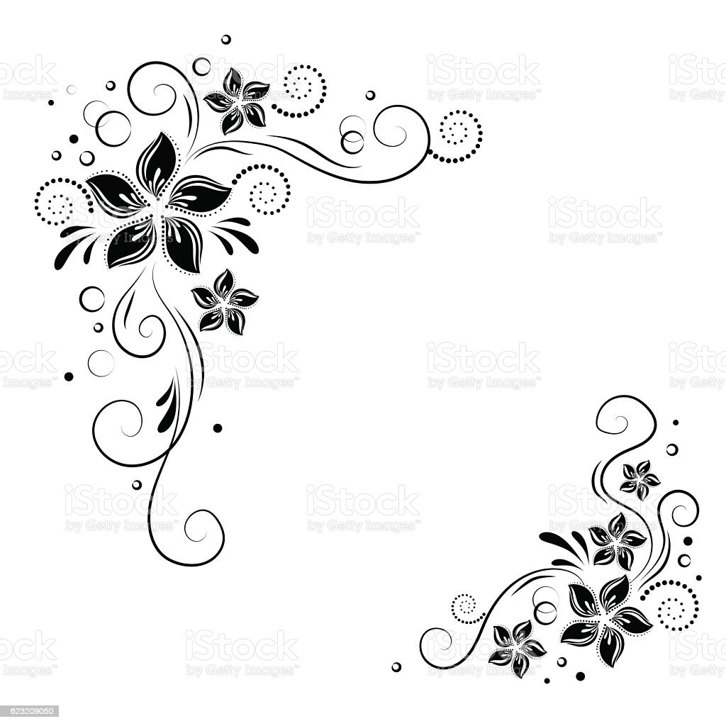 Floral Corner Design Ornament Black Flowers On White Background