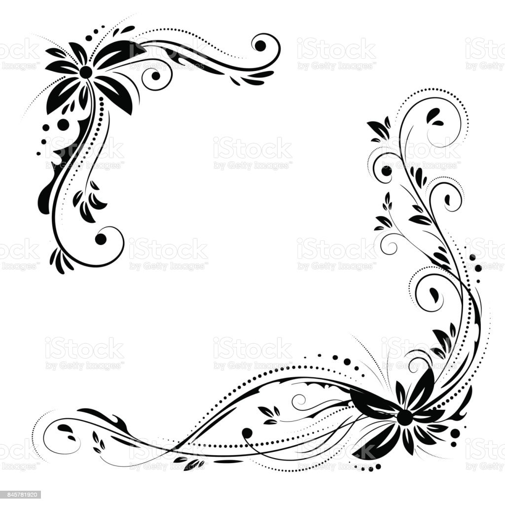 Floral Corner Design Ornament Black Flowers On White Background