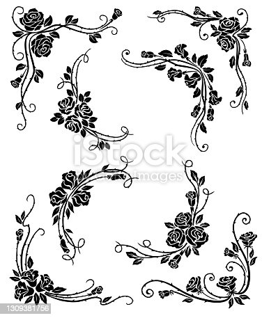 istock Floral corners, frame and vignette borders 1309381756