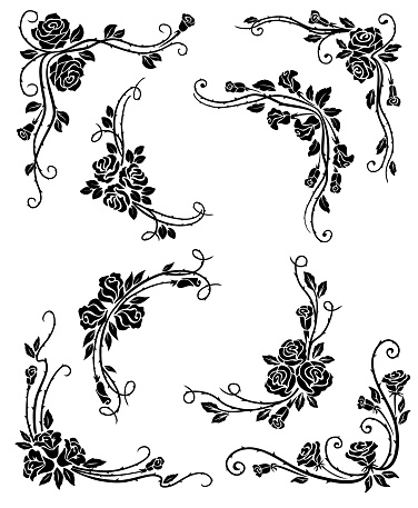 Floral corners, frame and vignette borders