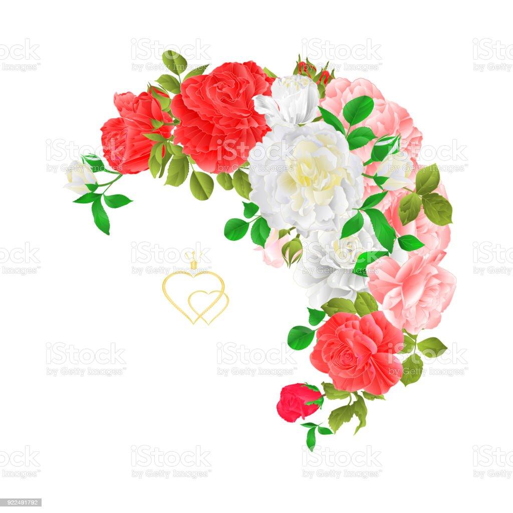 Ilustración de Marco Luna Floral Con Rosas Y Capullos Fondo Festivo ...