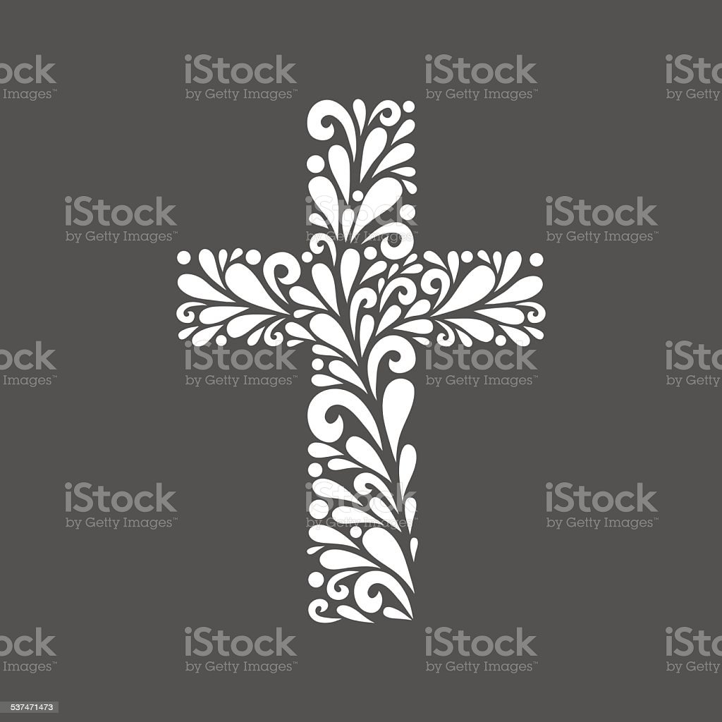 Floral cross. vector art illustration