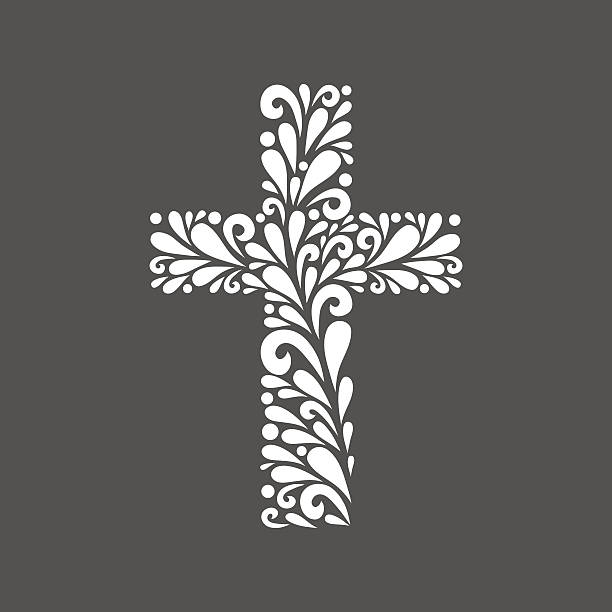 플로럴 교차. - 십자가 stock illustrations