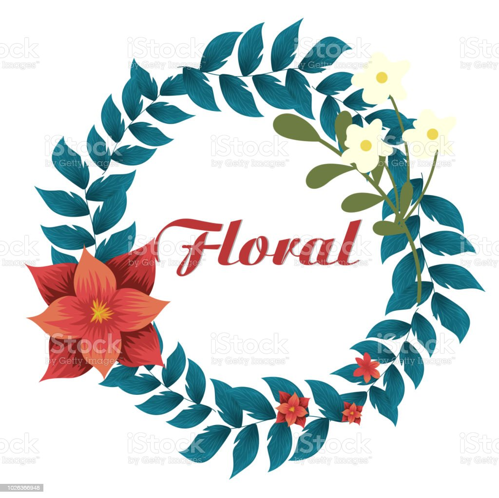 Floral Crown Flowers White Background Vector Image Stock Vector Art