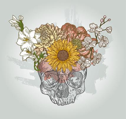 Floral Crown Skull Fantasy Line Art