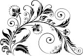 Vector illustration of floral curl silhouette