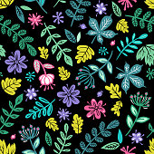 Seamless spring mood pattern in vectorwith plants and flowers