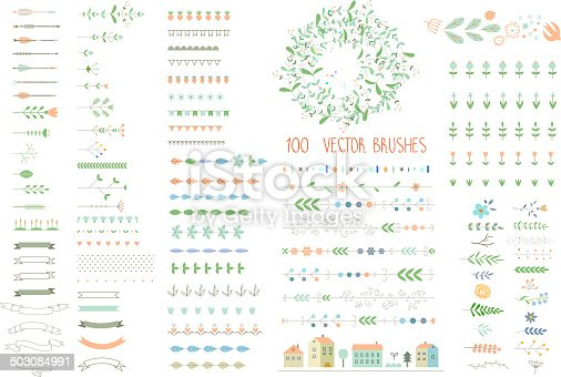 istock Floral decor set. 100 different vector brushes and decor elements. 503084991