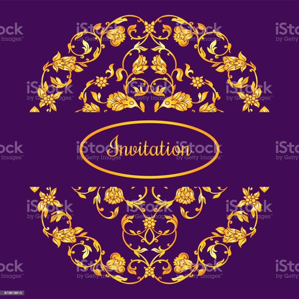 Floral decorated invitation card vector art illustration