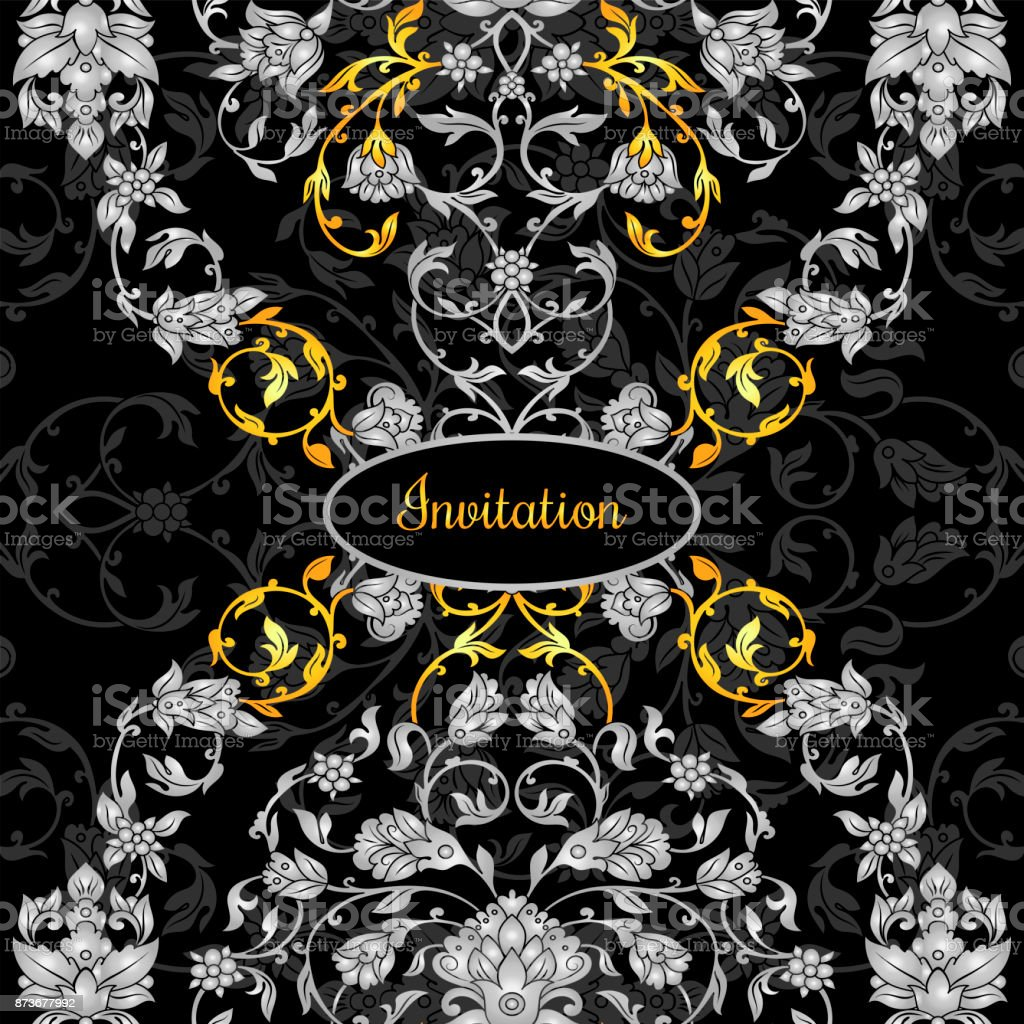 Floral decorated invitation card with antique, luxury silver and gold vintage ornament on black background, victorian banner, damask baroque style booklet, fashion pattern, template for design vector art illustration