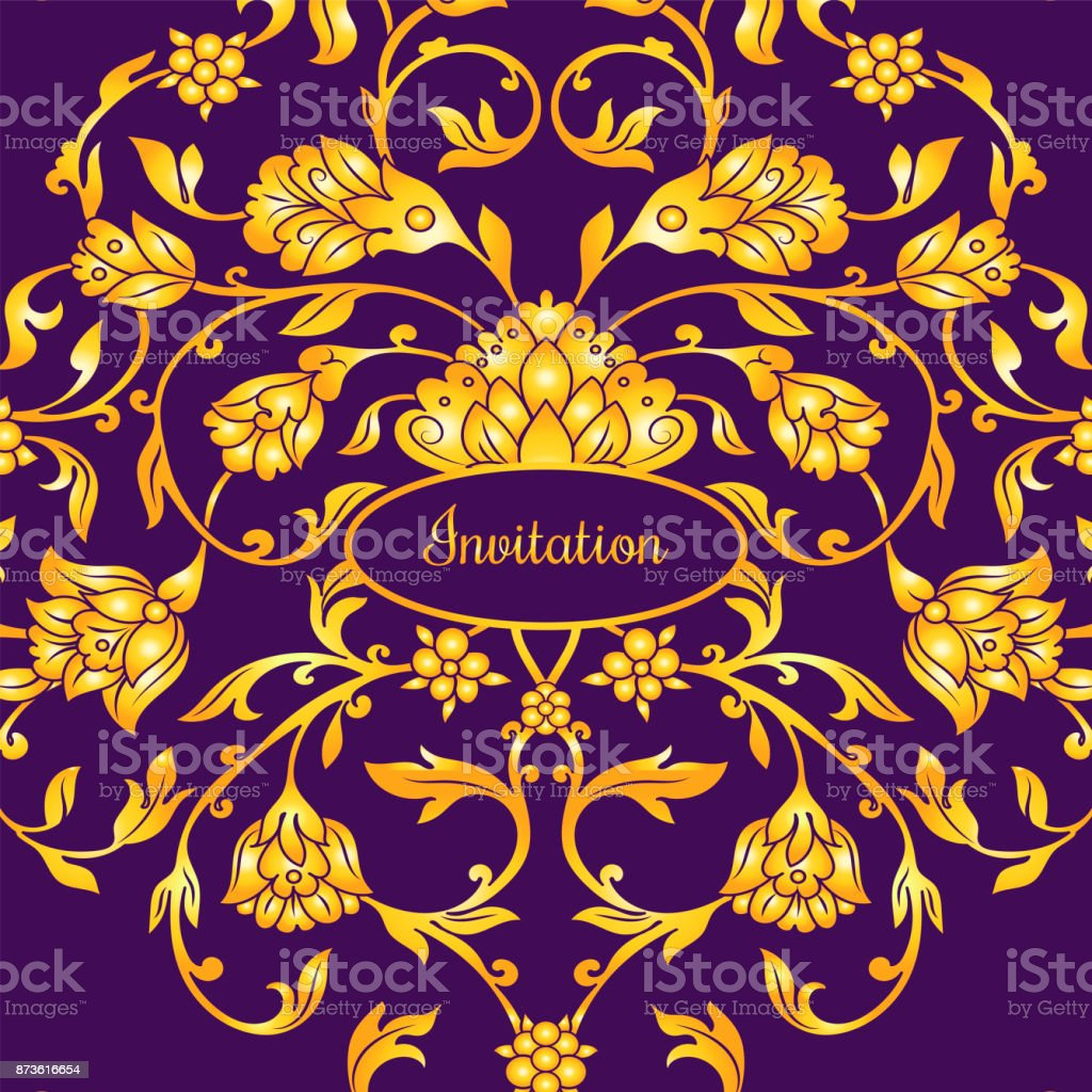 Floral decorated invitation card with antique, luxury violet and gold vintage ornament, victorian banner, damask baroque style booklet, fashion pattern, template for design vector art illustration