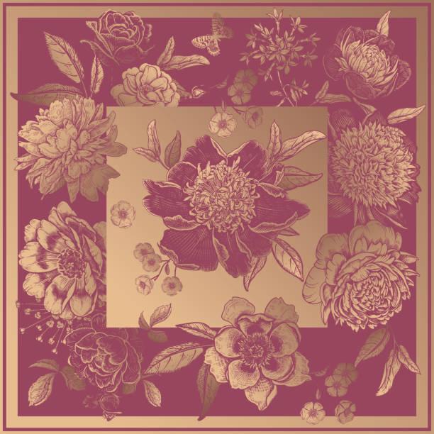 blumendekoration. schöne blumen pfingstrosen, rosen und schmetterlinge. - gartenfolie stock-grafiken, -clipart, -cartoons und -symbole