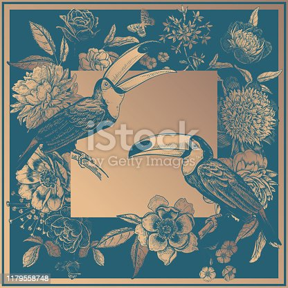 Toucans birds on branches, beautiful flowers peonies, roses and butterflies. Gold print and blue-green. Vintage. Vector illustration. Luxurious decor for cards, interior, pillows, scarf and shawls.