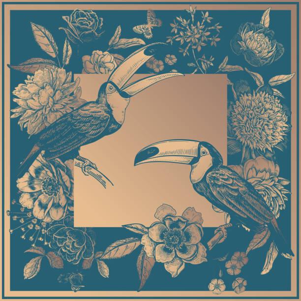 blumendekoration. schöne blumen pfingstrosen, rosen, schmetterlinge und toucans vögel. - gartenfolie stock-grafiken, -clipart, -cartoons und -symbole