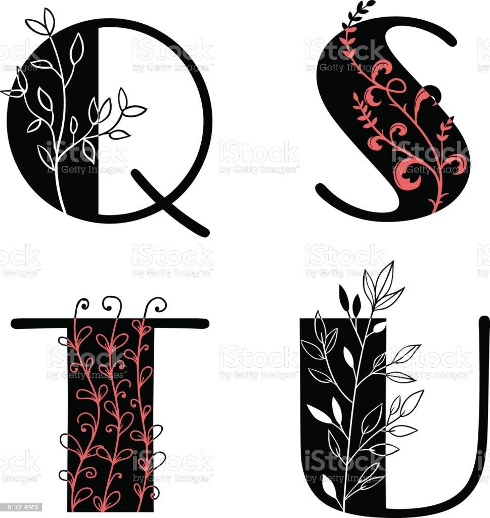 Floral Decorative Alphabet Set Over White Font Type Q S T U Letters