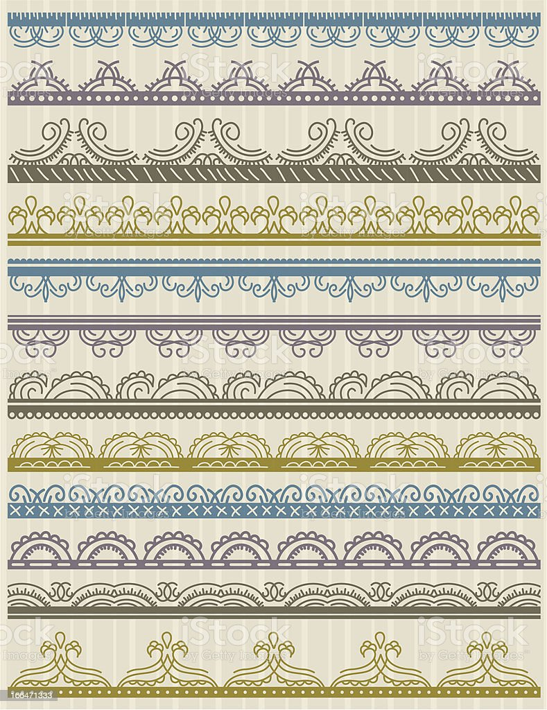 floral decorative borders, ornamental rules, dividers royalty-free stock vector art