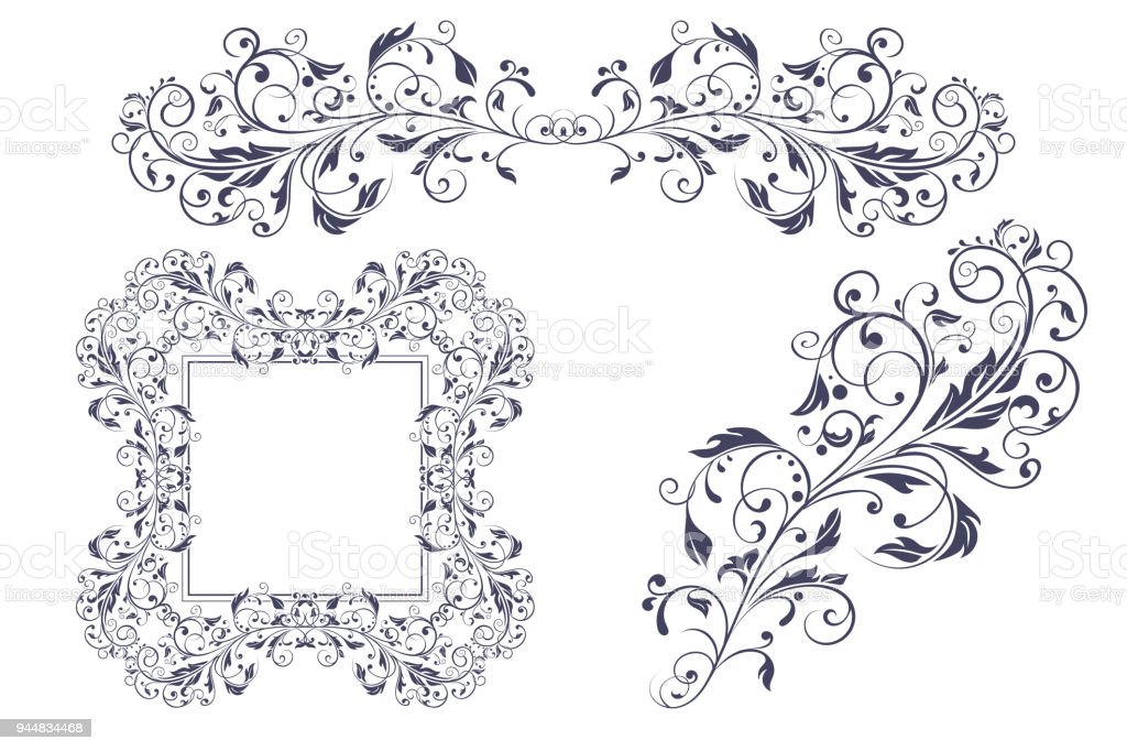 Floral decorative frame and ornaments wedding invitation decoration floral decorative frame and ornaments wedding invitation decoration royalty free floral decorative frame and junglespirit Image collections