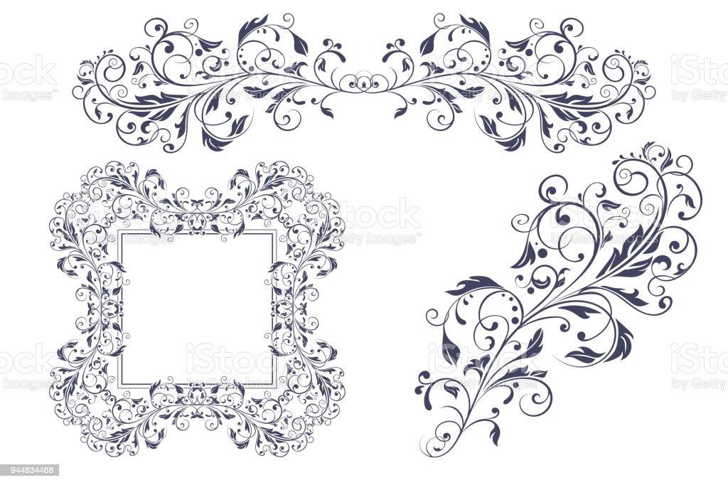 floral decorative frame and ornaments wedding invitation decoration