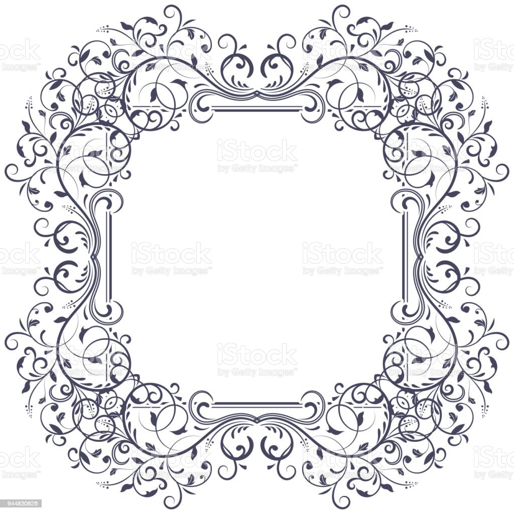 Floral Decorative Frame Black Vintage Ornament Stock Vector Art ...